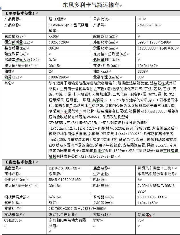 东风气瓶运输车参数表