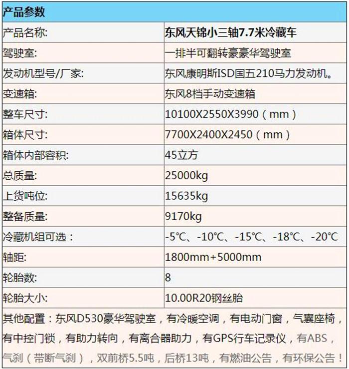 东风天锦小三轴7.7米冷藏车6